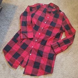 Tops - Red plaid tunic shirt
